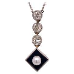 Old Mine Cut Diamond Pearl Onyx Drop Antique Necklace Platinum 14KYG