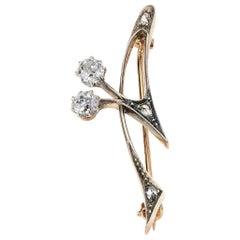 Old Mine Cut Diamond Pin in Platinum/18 Karat Gold/ 14 Karat Gold