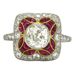 Old Mine Cut Diamond & Ruby Cocktail Ring Engagement Antique Mosaic Bombe' Dome