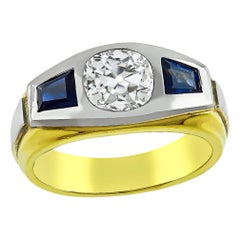 Old Mine Cut Diamond Sapphire 18 Karat Yellow and White Gold Ring