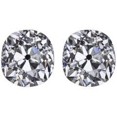 Old Mine Cut Diamond Studs 2.13 Carats