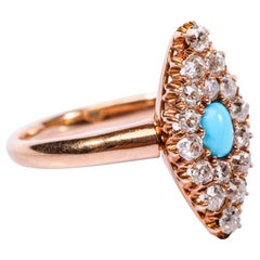 Old Mine Diamond and Turquoise Navette Ring Victorian