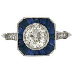 Old Mine Diamond Blue Sapphire Art Deco Style Platinum Engagement Ring