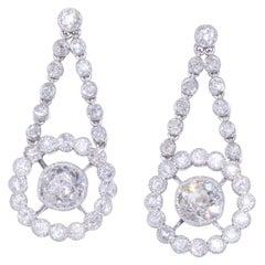 Old Mine Diamond Cluster Pendant Earrings