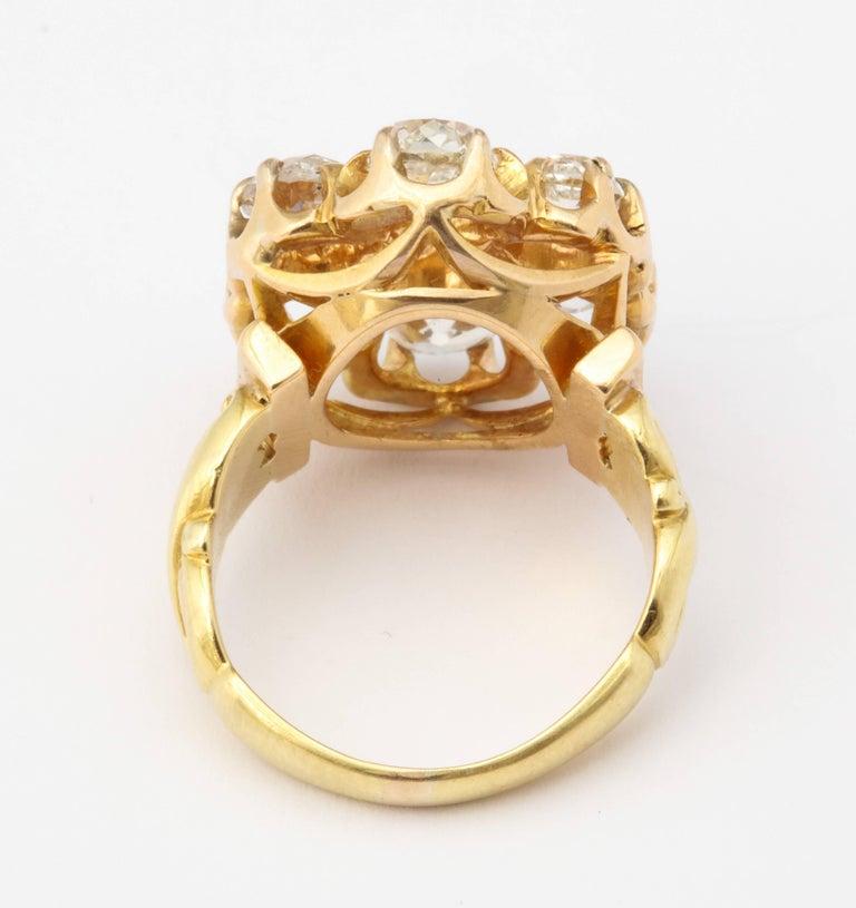 Women's or Men's Old Mine Diamond Ring, 18 Karat Victorian For Sale