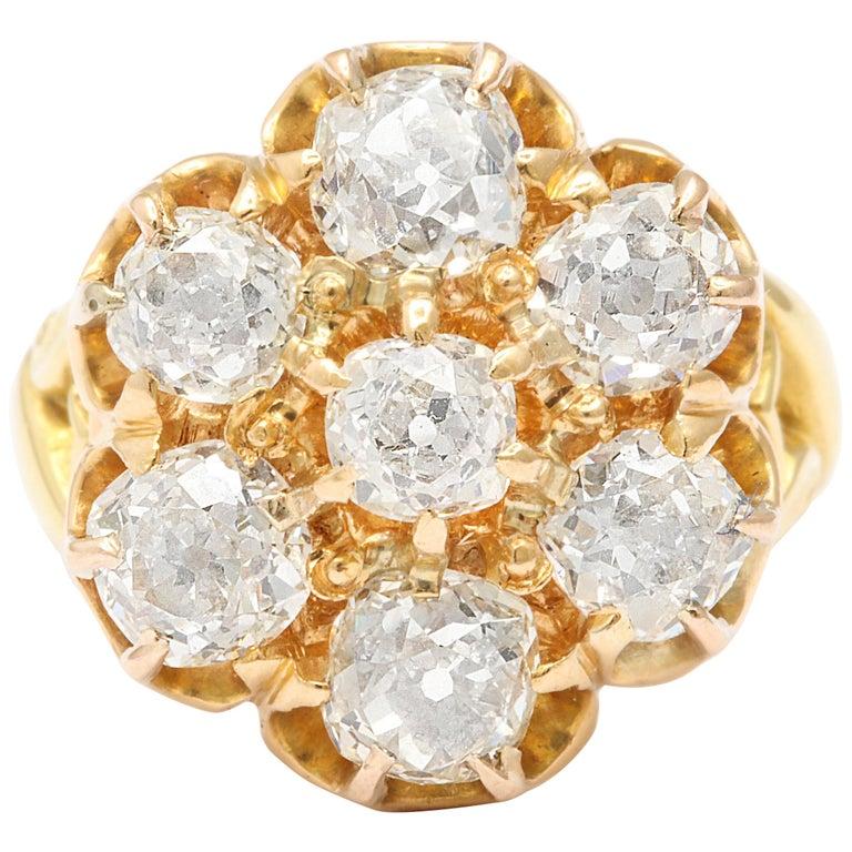 Old Mine Diamond Ring, 18 Karat Victorian For Sale