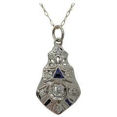 Old Mine Diamond Sapphire 18 Karat Gold Pendant Lavaliere Art Deco Necklace