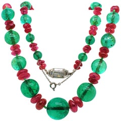 Old-Mine Emerald, Ruby and Diamond Art Deco Necklace, France, ca. 1920s