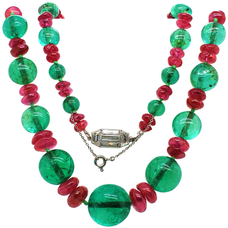 Old-Mine Emerald, Ruby and Diamond Art Deco Necklace, France, ca. 1920s For Sale