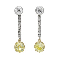 Old Mine Fancy Yellow Diamond Drop Earrings, circa 1910