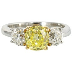 Old Mine Fancy Yellow Vintage Cut Three-Stone Diamond Engagement Ring