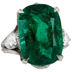 Old Mine Gem Emerald Cushion Ring