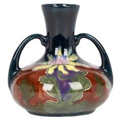 Old Moravian Austrian Art Nouveau Floral Painted Twin Handled Vase