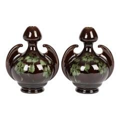 Old Moravian Pair of Art Nouveau Austrian Leaf Pattern Twin Handled Vases