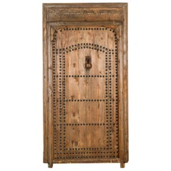 Old Moroccan Door in Frame with Wicket Gate, 20th Century