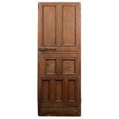 Old Multi Paneled Oak Interior Door, 20th Century