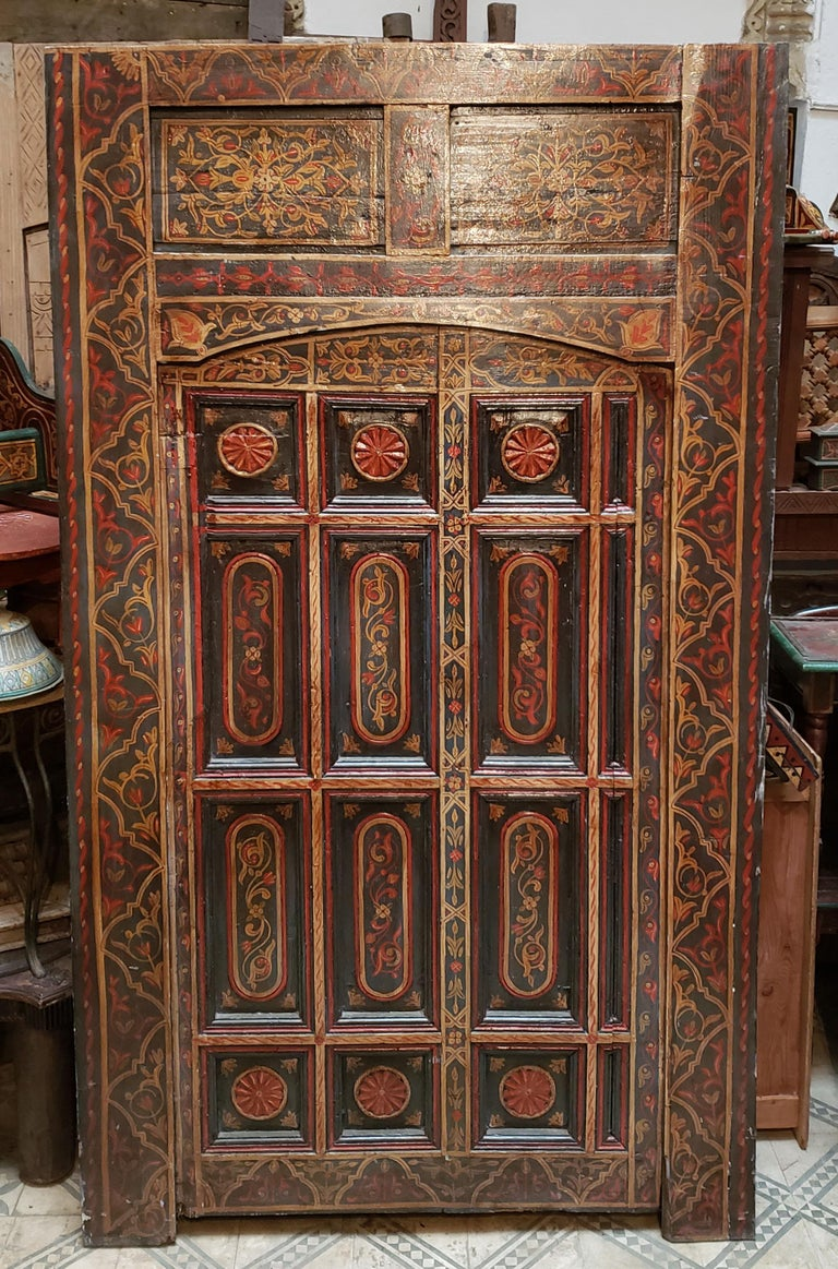 Carved Old Multi-Color Moroccan Wooden Door, 23MD42 For Sale