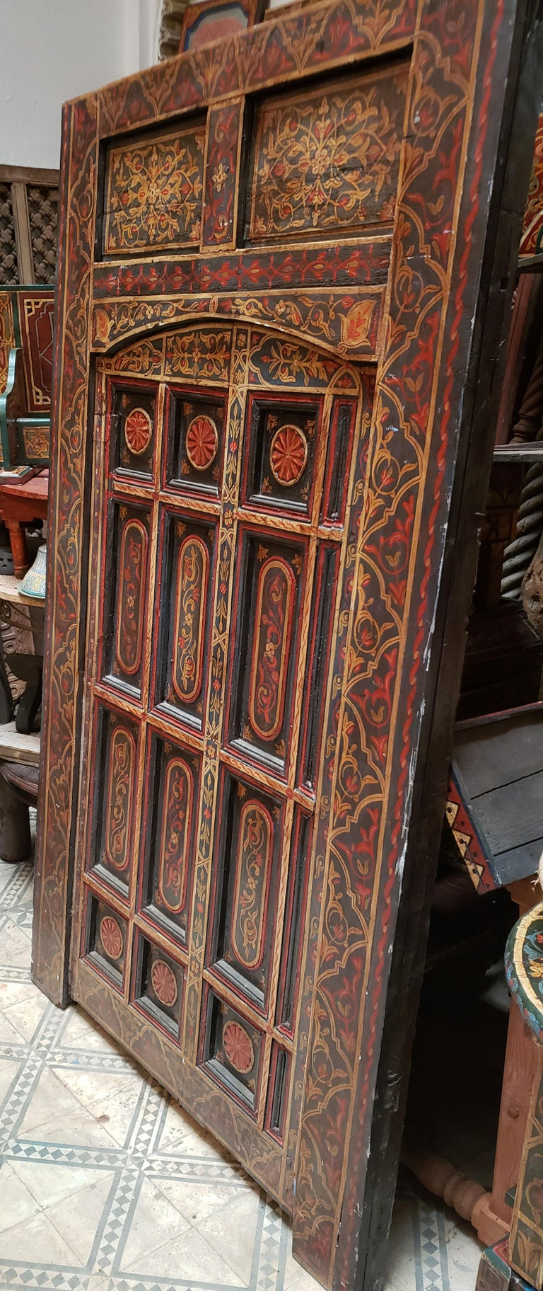 Old Multi-Color Moroccan Wooden Door, 23MD42 For Sale 2