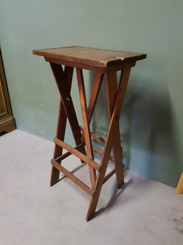 European Old Oak Wooden Small Work Table, Now Fantastic as a Pedestal for a Art Object For Sale