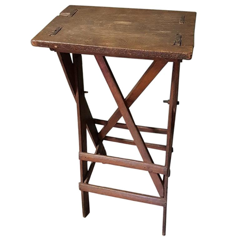 Old Oak Wooden Small Work Table, Now Fantastic as a Pedestal for a Art Object For Sale