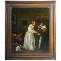Old Oil Painting After J. Vermeer Manner, Old Master, circa 1900