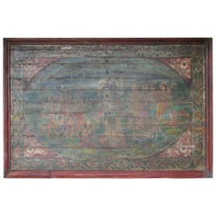 Old Oil Painting on Wooden Board from a Village Temple in Western India