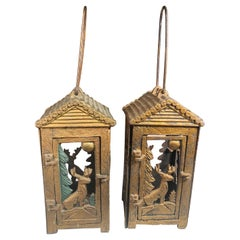 "Old Original ""Deer & Pine Tree Moon"" Tea Garden Lanterns, Pair"
