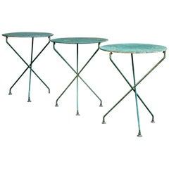 Old Painted Steel X-Base Bistro Tables