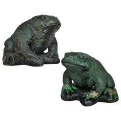 Old Painted Stone Large Garden Toads
