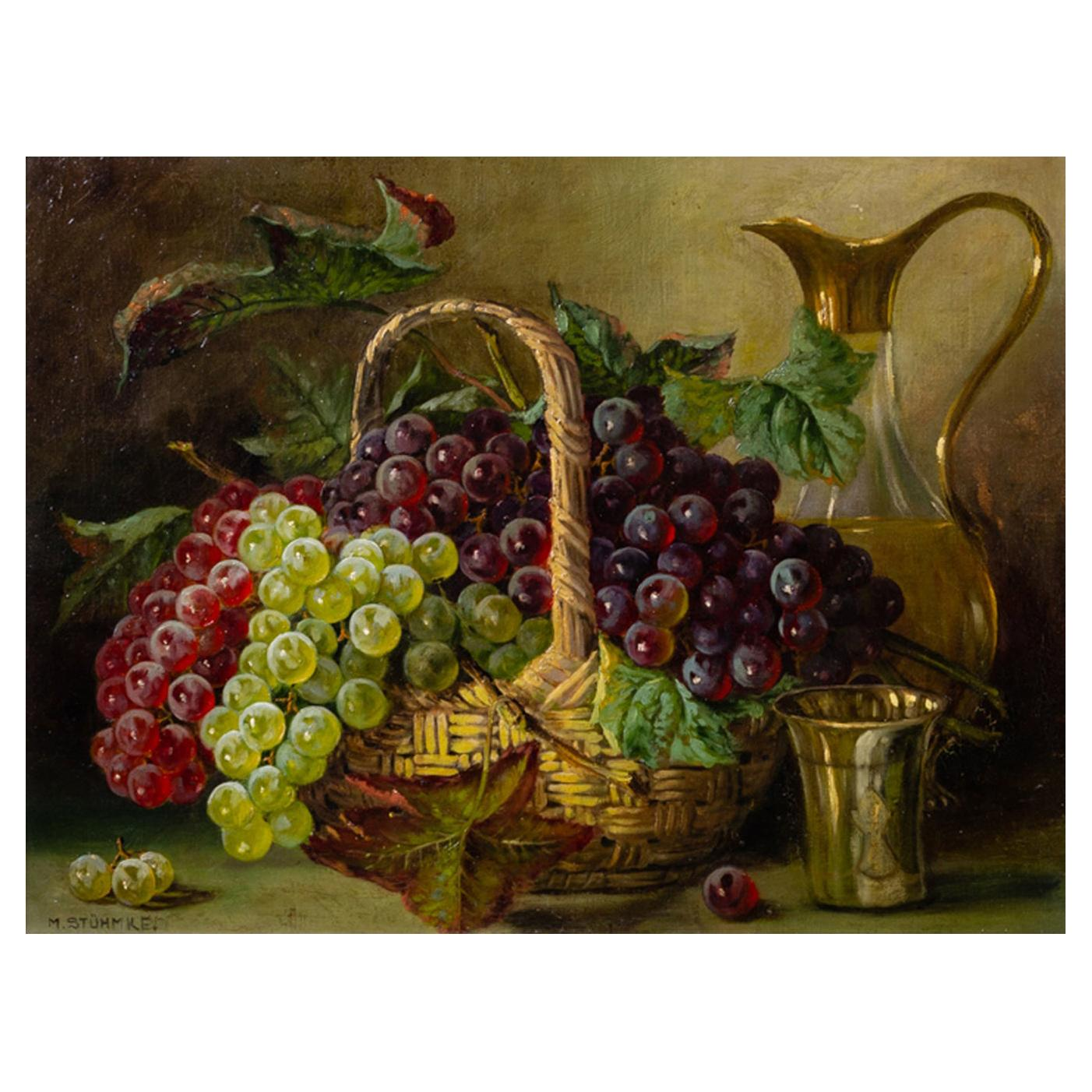 Old Painting Grapes in the Basket