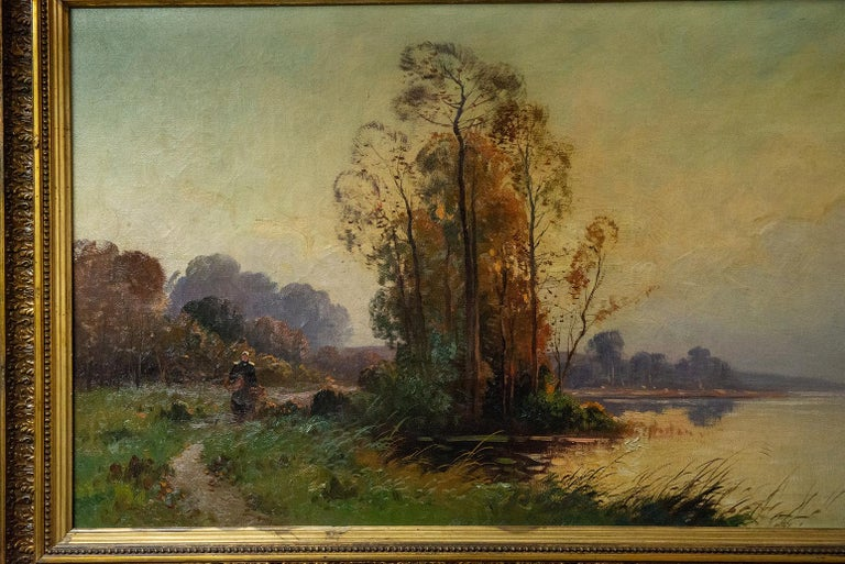 Pleasant river landscape with trees and boat: quiet atmosphere, to be transferred home. Old frame - Signed: VERNON - O/7020.