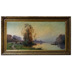 "Old Painting ""river with boat"""