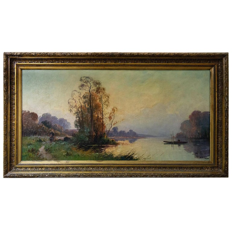 """Old Painting """"river with boat"""" For Sale"""