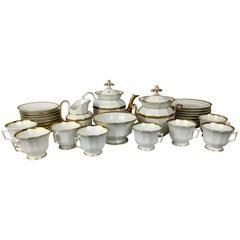 Old Paris Porcelain 32 Piece White Tea Service with Gold Trim-Service for 8