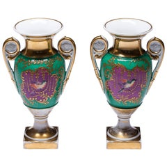Old Paris Porcelain Hand-Painted Neoclassical Vases