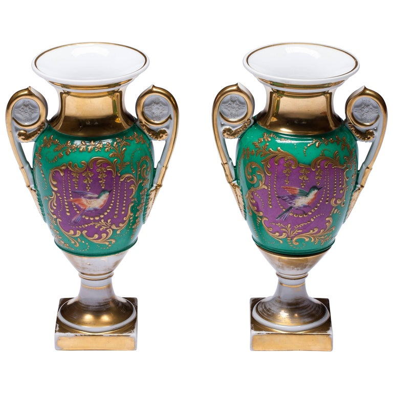 Old Paris Porcelain Hand-Painted Neoclassical Vases For Sale