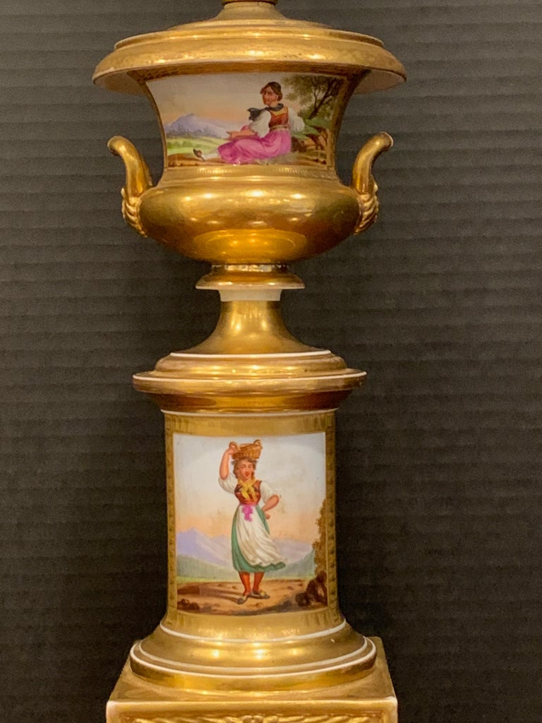Neoclassical Old Paris Tyrollian Fashion Motif Campana Urn, Now as a Lamp For Sale