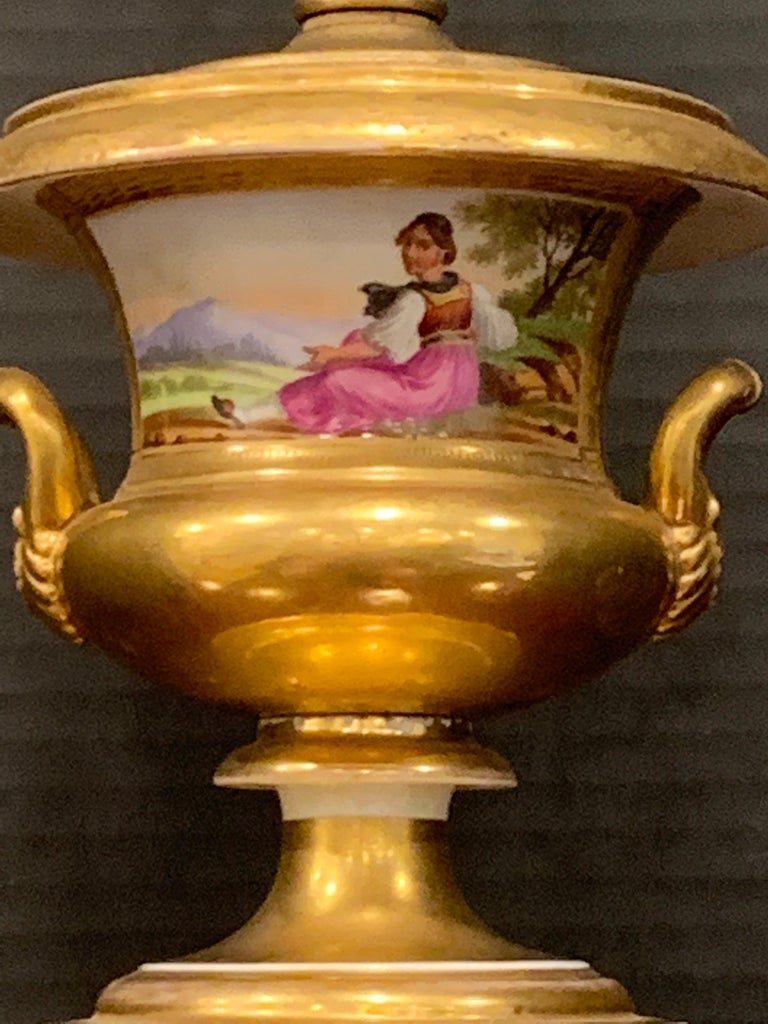 French Old Paris Tyrollian Fashion Motif Campana Urn, Now as a Lamp For Sale
