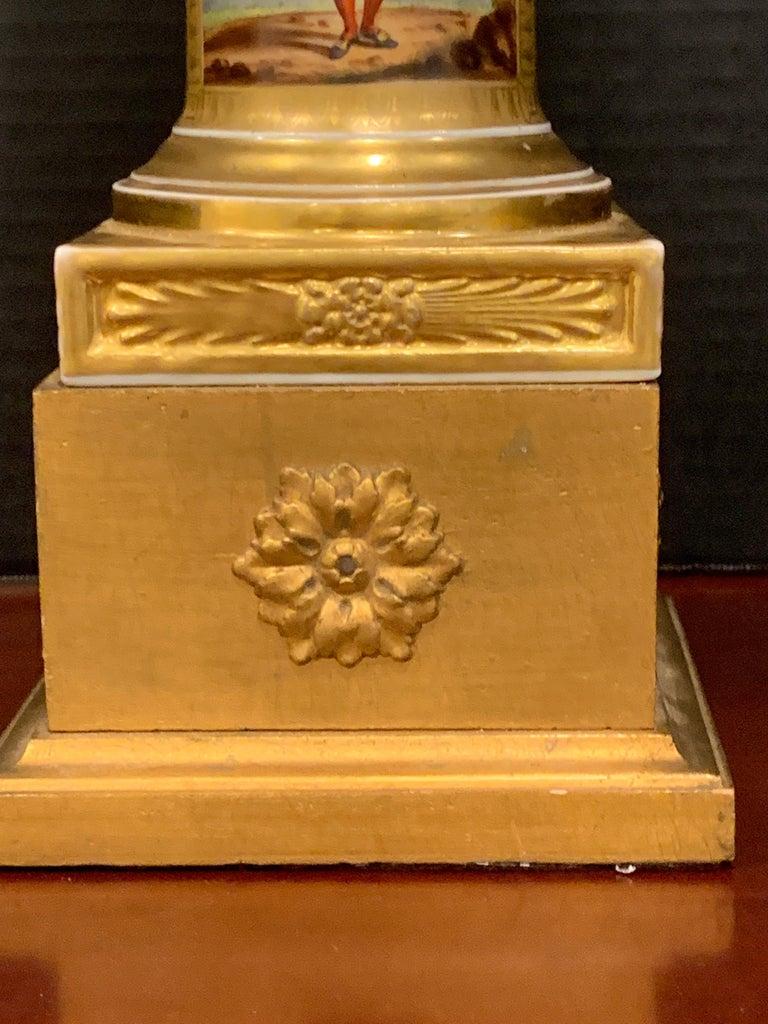 Old Paris Tyrollian Fashion Motif Campana Urn, Now as a Lamp In Good Condition For Sale In Atlanta, GA