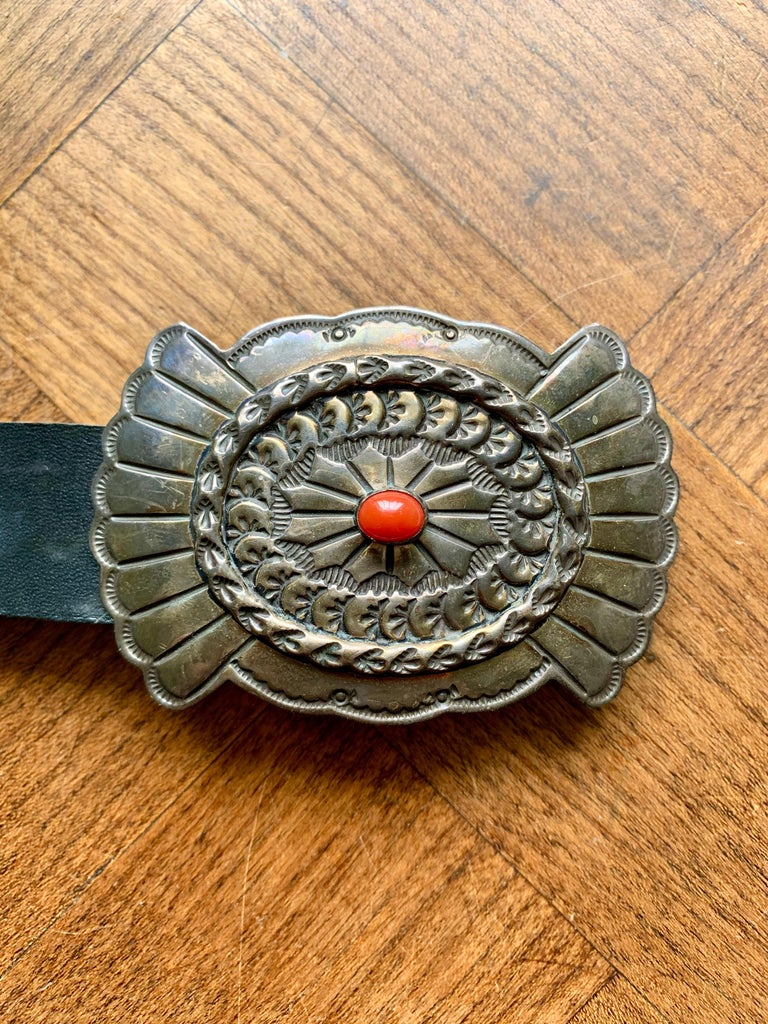 Old Pawn Navajo Native American Coral & Stamped Sterling Concho Belt, Signed LC 5