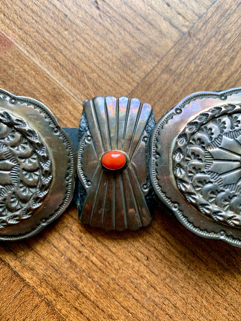 Old Pawn Navajo Native American Coral & Stamped Sterling Concho Belt, Signed LC 6