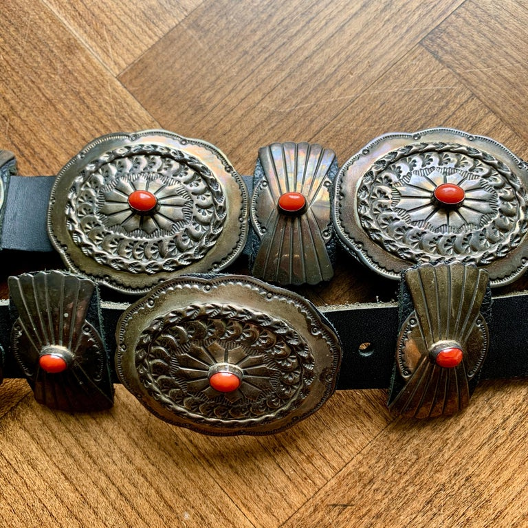 Old Pawn Navajo Native American Coral & Stamped Sterling Concho Belt, Signed LC 8