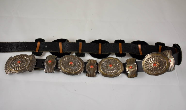 20th Century Old Pawn Navajo Native American Coral & Stamped Sterling Concho Belt, Signed LC