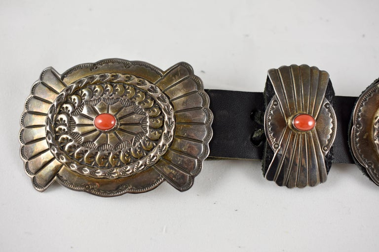 Sterling Silver Old Pawn Navajo Native American Coral & Stamped Sterling Concho Belt, Signed LC