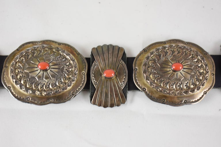 Old Pawn Navajo Native American Coral & Stamped Sterling Concho Belt, Signed LC 1