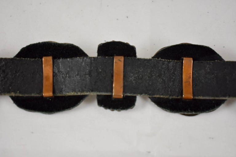 Old Pawn Navajo Native American Coral & Stamped Sterling Concho Belt, Signed LC 2