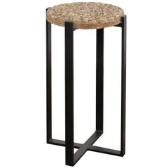 Old Pebble Stone Drink Tabletop Mounted on Custom-Made Iron Base