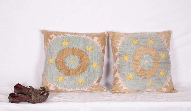 Uzbek Old Pillow Cases Fashioned from an Early 20th Century Samarkand Suzani For Sale