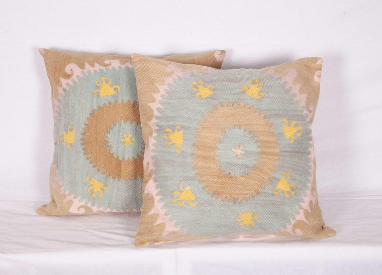 Embroidered Old Pillow Cases Fashioned from an Early 20th Century Samarkand Suzani For Sale