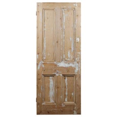Old Pine Four Panel Salvaged Door, 20th Century